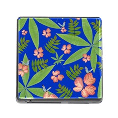 Leaves On Blue Memory Card Reader (square)