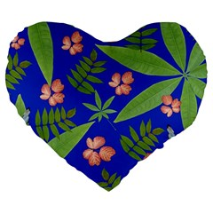 Leaves On Blue Large 19  Premium Heart Shape Cushions