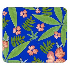 Leaves On Blue Double Sided Flano Blanket (small)  by LoolyElzayat