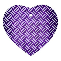Woven2 White Marble & Purple Brushed Metal Ornament (heart)
