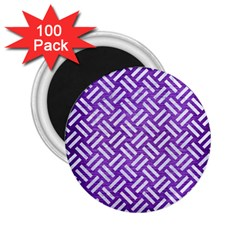Woven2 White Marble & Purple Brushed Metal 2 25  Magnets (100 Pack)