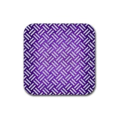 Woven2 White Marble & Purple Brushed Metal Rubber Coaster (square)