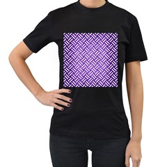 Woven2 White Marble & Purple Brushed Metal Women s T Shirt (black) (two Sided)