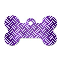 Woven2 White Marble & Purple Brushed Metal Dog Tag Bone (two Sides)