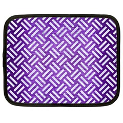 Woven2 White Marble & Purple Brushed Metal Netbook Case (large)