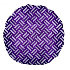 Woven2 White Marble & Purple Brushed Metal Large 18  Premium Round Cushions
