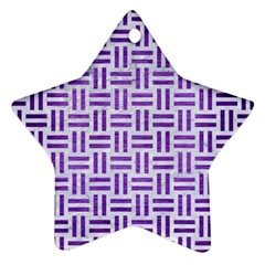 Woven1 White Marble & Purple Brushed Metal (r) Ornament (star)