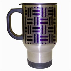 Woven1 White Marble & Purple Brushed Metal (r) Travel Mug (silver Gray) by trendistuff