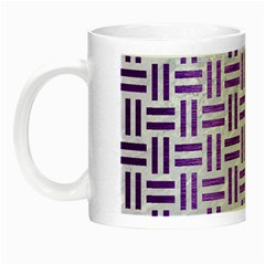 Woven1 White Marble & Purple Brushed Metal (r) Night Luminous Mugs by trendistuff