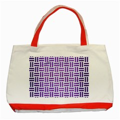 Woven1 White Marble & Purple Brushed Metal (r) Classic Tote Bag (red)