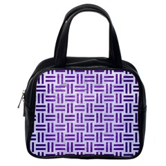 Woven1 White Marble & Purple Brushed Metal (r) Classic Handbags (one Side)