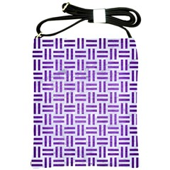 Woven1 White Marble & Purple Brushed Metal (r) Shoulder Sling Bags