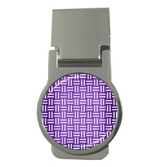 Woven1 White Marble & Purple Brushed Metal Money Clips (round)