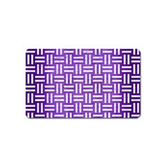 Woven1 White Marble & Purple Brushed Metal Magnet (name Card) by trendistuff