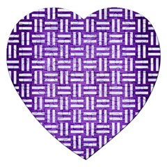 Woven1 White Marble & Purple Brushed Metal Jigsaw Puzzle (heart)