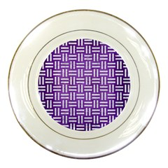 Woven1 White Marble & Purple Brushed Metal Porcelain Plates