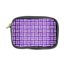 Woven1 White Marble & Purple Brushed Metal Coin Purse by trendistuff