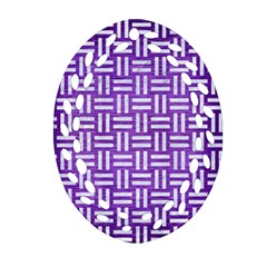 Woven1 White Marble & Purple Brushed Metal Oval Filigree Ornament (two Sides)