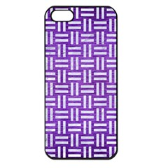 Woven1 White Marble & Purple Brushed Metal Apple Iphone 5 Seamless Case (black) by trendistuff