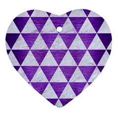 Triangle3 White Marble & Purple Brushed Metal Heart Ornament (two Sides)
