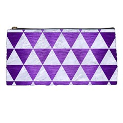 Triangle3 White Marble & Purple Brushed Metal Pencil Cases by trendistuff