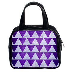 Triangle2 White Marble & Purple Brushed Metal Classic Handbags (2 Sides)