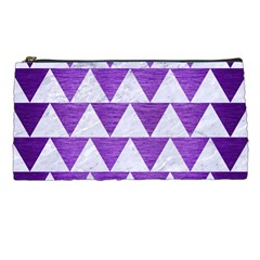 Triangle2 White Marble & Purple Brushed Metal Pencil Cases
