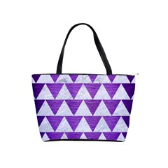 Triangle2 White Marble & Purple Brushed Metal Shoulder Handbags