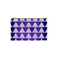 Triangle2 White Marble & Purple Brushed Metal Cosmetic Bag (small)