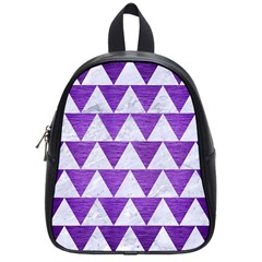 Triangle2 White Marble & Purple Brushed Metal School Bag (small) by trendistuff