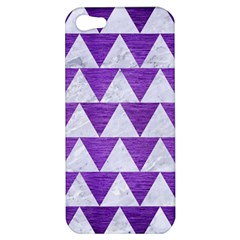 Triangle2 White Marble & Purple Brushed Metal Apple Iphone 5 Hardshell Case