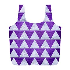 Triangle2 White Marble & Purple Brushed Metal Full Print Recycle Bags (l)  by trendistuff