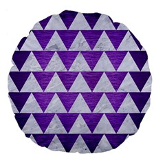 Triangle2 White Marble & Purple Brushed Metal Large 18  Premium Flano Round Cushions by trendistuff