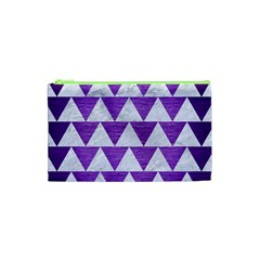 Triangle2 White Marble & Purple Brushed Metal Cosmetic Bag (xs)