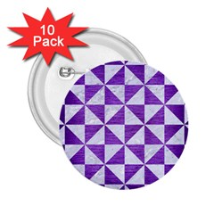 Triangle1 White Marble & Purple Brushed Metal 2 25  Buttons (10 Pack)  by trendistuff