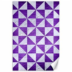 Triangle1 White Marble & Purple Brushed Metal Canvas 24  X 36
