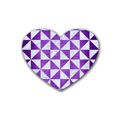 Triangle1 White Marble & Purple Brushed Metal Rubber Coaster (heart)  by trendistuff