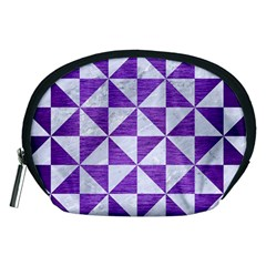 Triangle1 White Marble & Purple Brushed Metal Accessory Pouches (medium)
