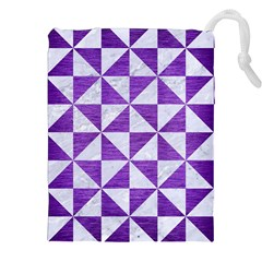 Triangle1 White Marble & Purple Brushed Metal Drawstring Pouches (xxl)