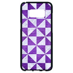 Triangle1 White Marble & Purple Brushed Metal Samsung Galaxy S8 Black Seamless Case by trendistuff