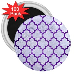 Tile1 White Marble & Purple Brushed Metal (r) 3  Magnets (100 Pack)