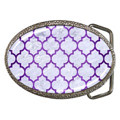 Tile1 White Marble & Purple Brushed Metal (r) Belt Buckles