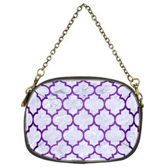 Tile1 White Marble & Purple Brushed Metal (r) Chain Purses (one Side)