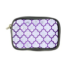 Tile1 White Marble & Purple Brushed Metal (r) Coin Purse