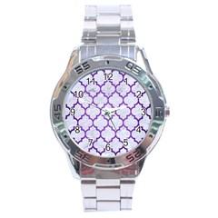 Tile1 White Marble & Purple Brushed Metal (r) Stainless Steel Analogue Watch by trendistuff