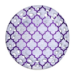 Tile1 White Marble & Purple Brushed Metal (r) Round Filigree Ornament (two Sides)
