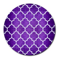 Tile1 White Marble & Purple Brushed Metal Round Mousepads