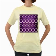 Tile1 White Marble & Purple Brushed Metal Women s Yellow T Shirt