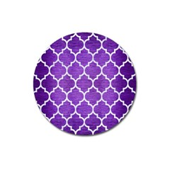 Tile1 White Marble & Purple Brushed Metal Magnet 3  (round) by trendistuff