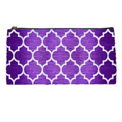Tile1 White Marble & Purple Brushed Metal Pencil Cases by trendistuff